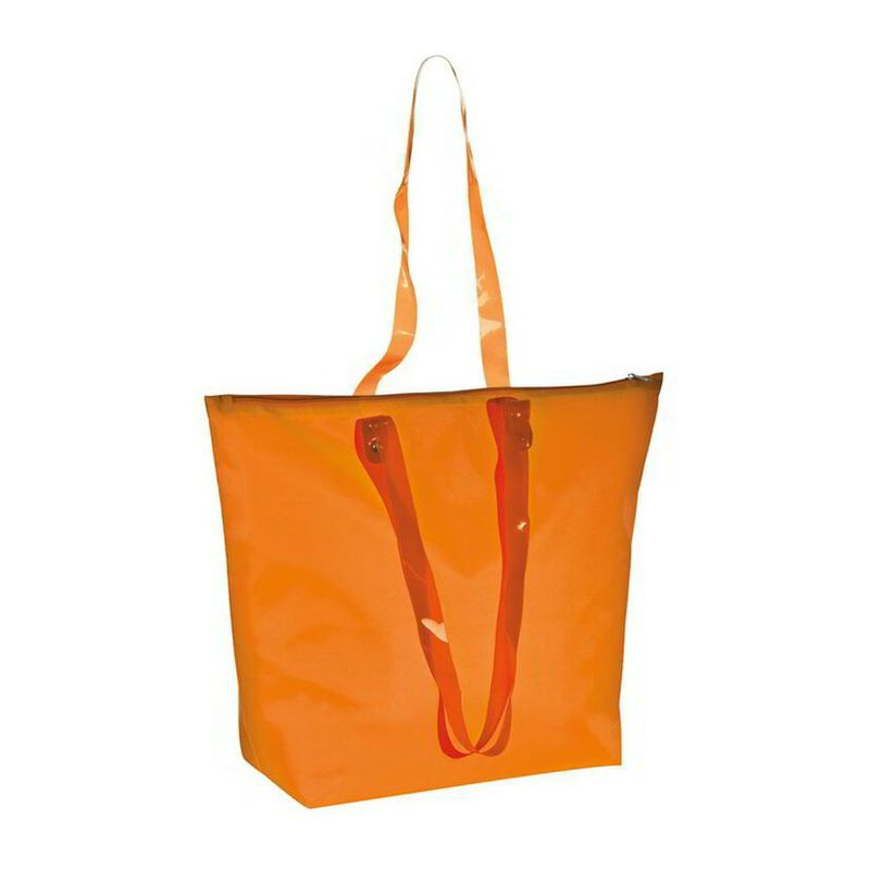 Beach bag with transparent handles